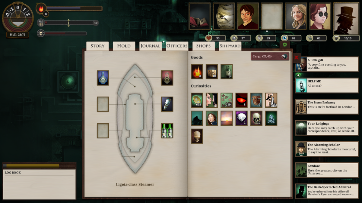 An overview of the player's boat in Sunless Sea.