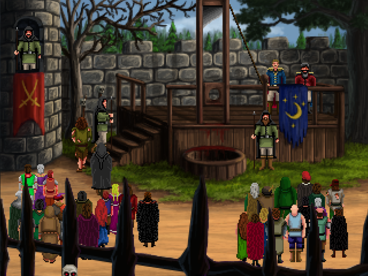 Roehm attends a public execution in Quest for Infamy.