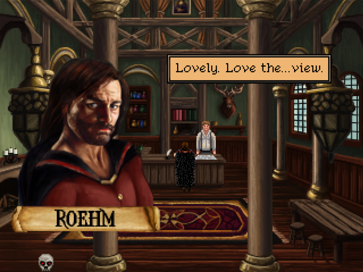 Roehm gets a bit saucy in Quest for Infamy.