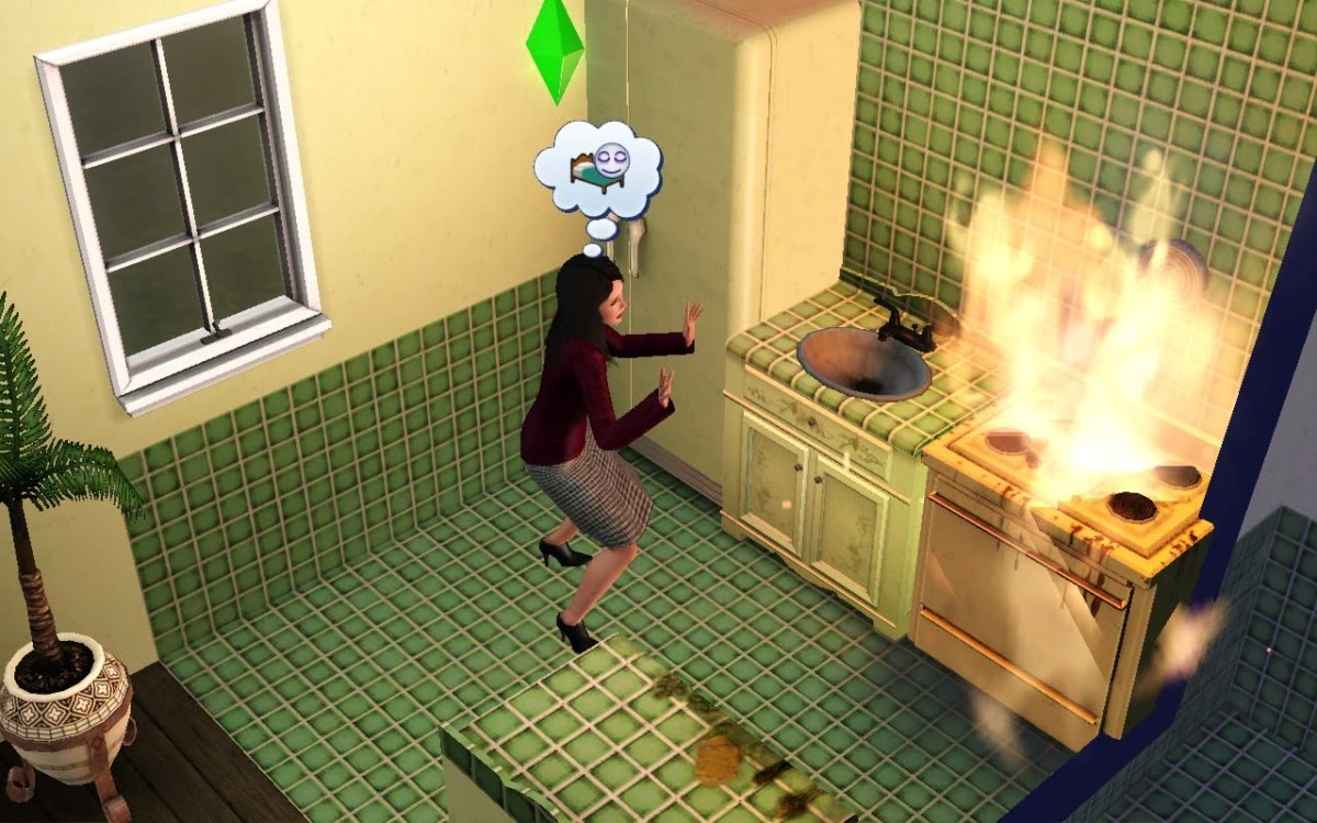 Sims with poor cooking skills might start a kitchen fire.