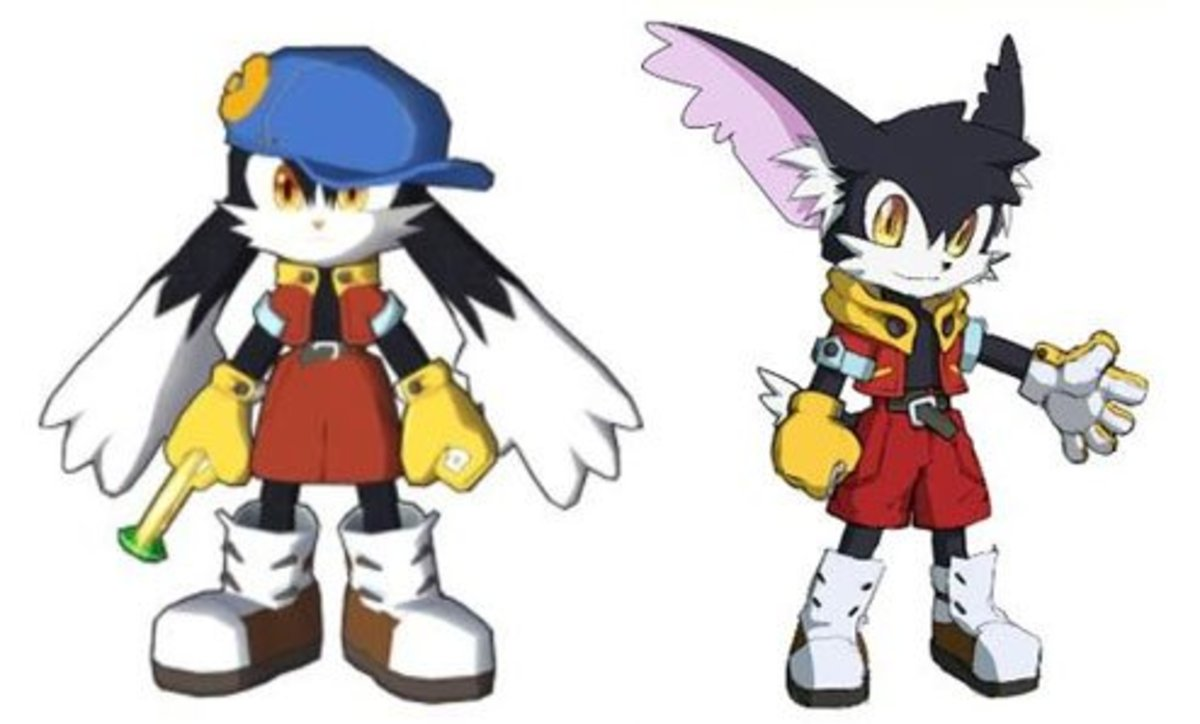 Klonoa's character redesign (left) and Klonoa's proposed North American redesign (right)