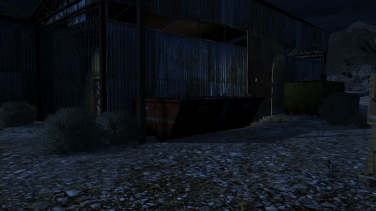 From inside this dumpster you can use explosives on enemy vehicles, but you are vulnerable to enemies and helicopters.