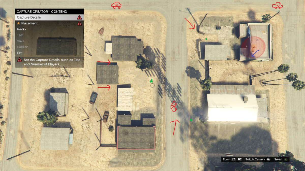 Red arrows represent enemy approaches, red orb thing is the location of your position, green dots are Body Armor locations, Poorly drawn cars and jellyfish(?) is where enemy vehicles come from (while playing Solo).