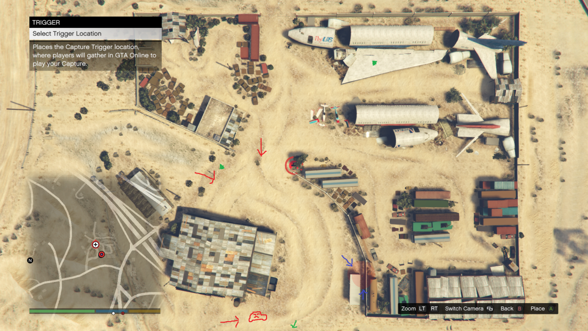 Red arrows represent enemy approaches, blue arrow is the location of your position, green dots are Body Armor locations, Poorly drawn car (I forgot the wheels...) is where enemy vehicles come from (while playing Solo).