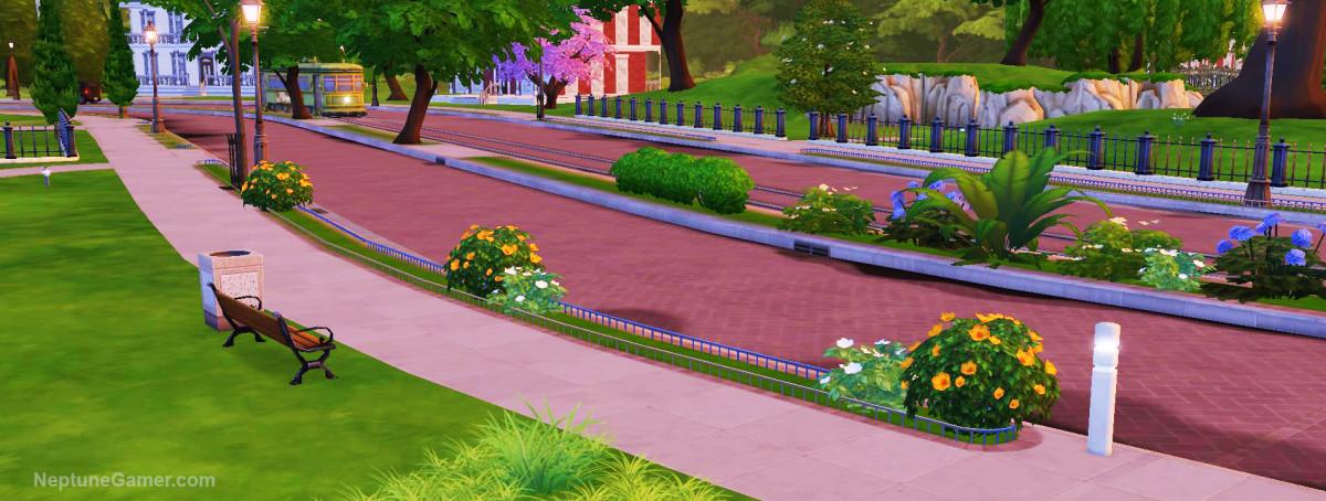 Sims 4 - Streetcar on beautiful boulevard