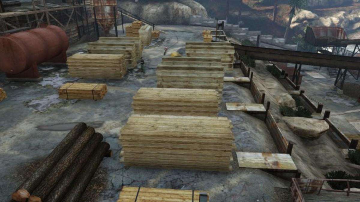 Wood pile storage spot.