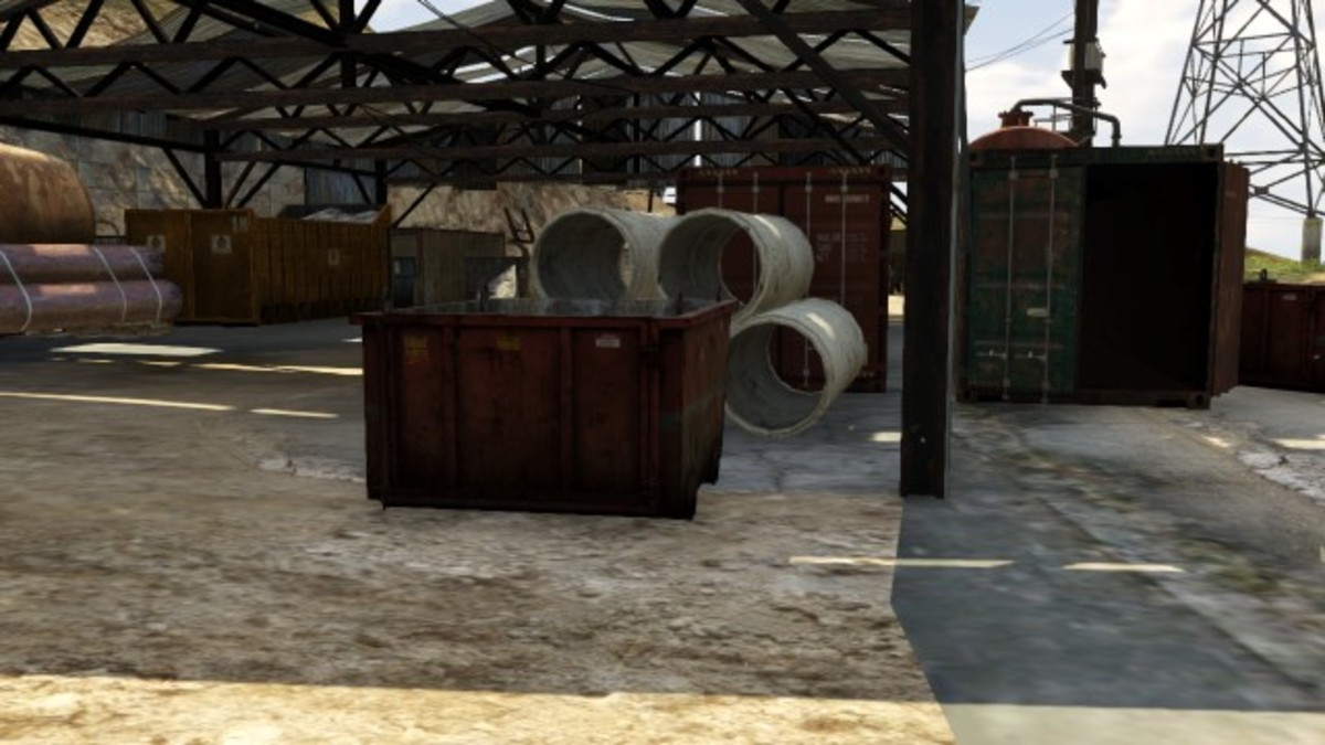 The Dumpster inside the North Warehouse. You can cover most of the area from here.