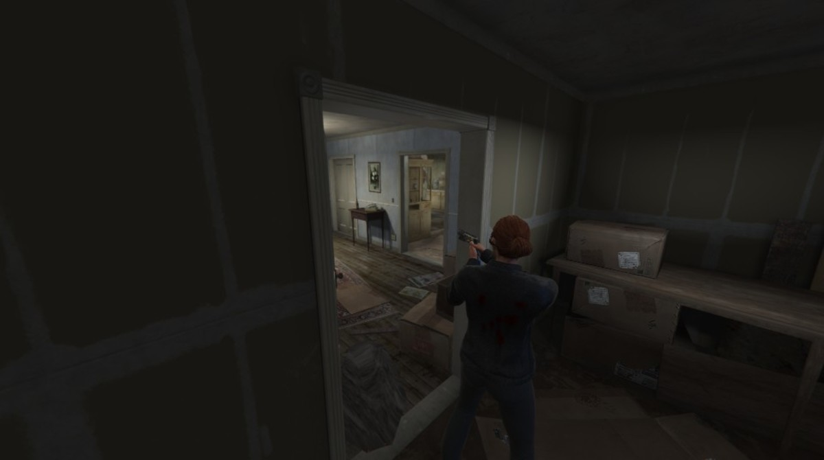 The alternative spot, in the downstairs closet, during Waves 6-8. Be selective of the weapons you use while in cover, the aim gets obscured on the door frame.