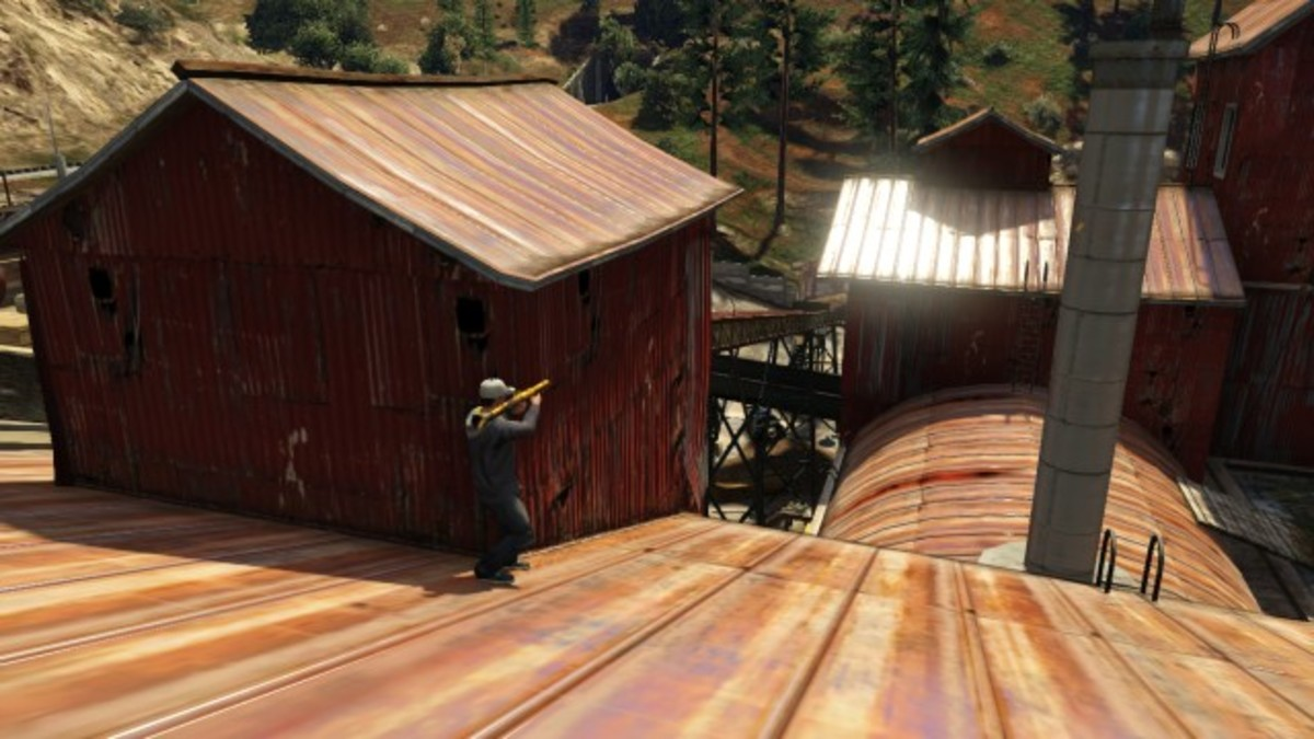 You can take cover anywhere up on the roof of the Sawmill, this is just one example.