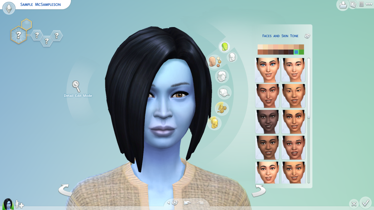 A blue-skinned sim in The Sims 4. Yep, you can have some funky skin colours.