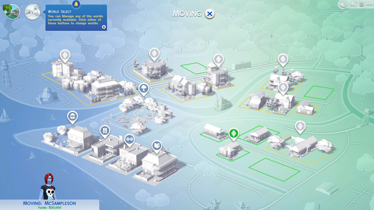 The neighbourhood map in The Sims 4.
