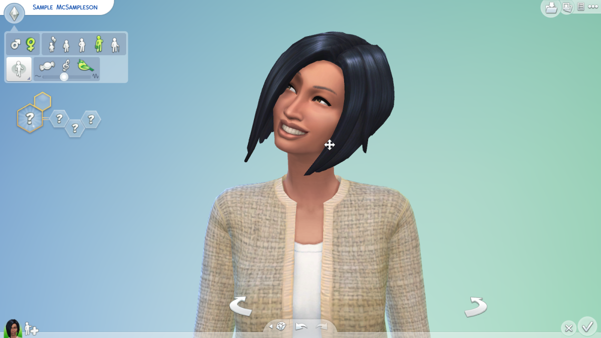 A sim underway in The Sims 4. You can randomize your sims or customize every aspect of their appearance.