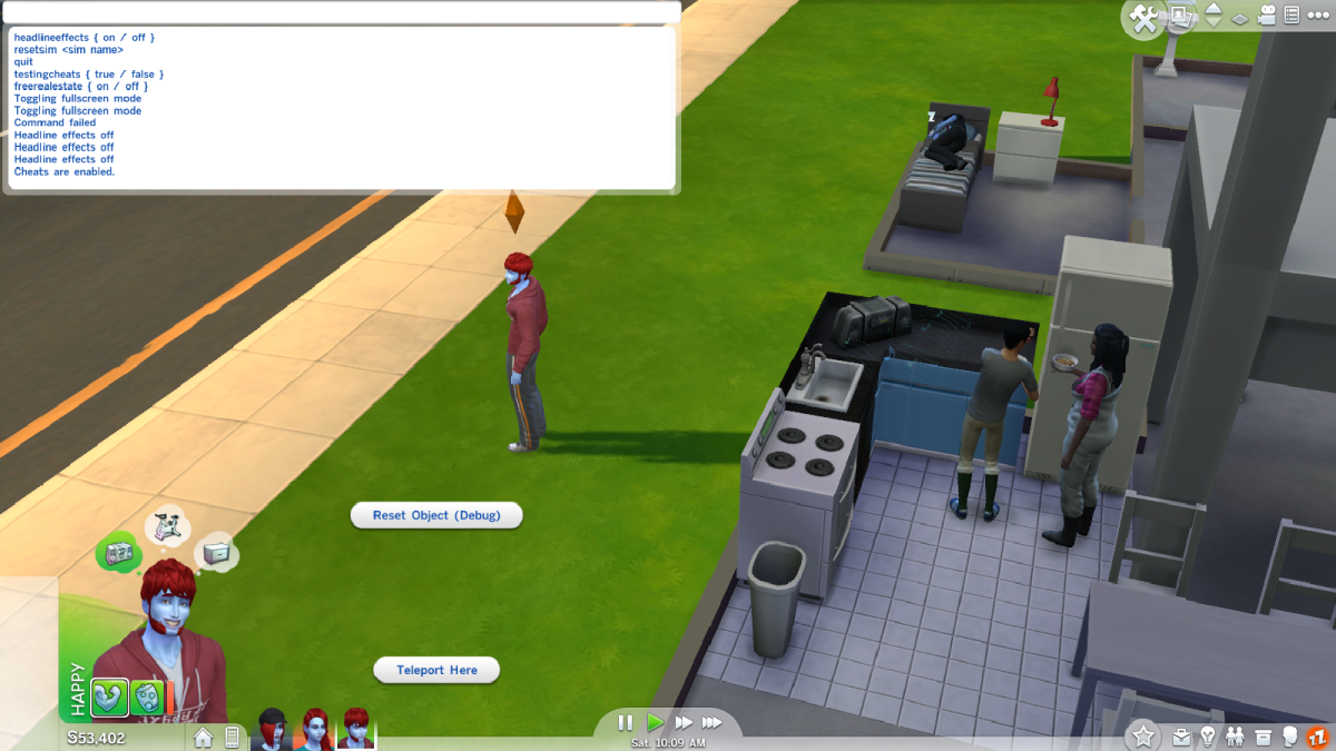 """The cheat interface in """"The Sims 4."""" Most cheats must be triggered via this window."""