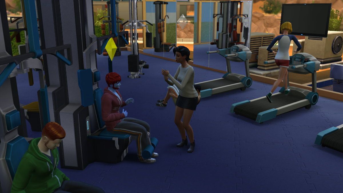 "Two sims getting to know each other at the gym in ""The Sims 4."""