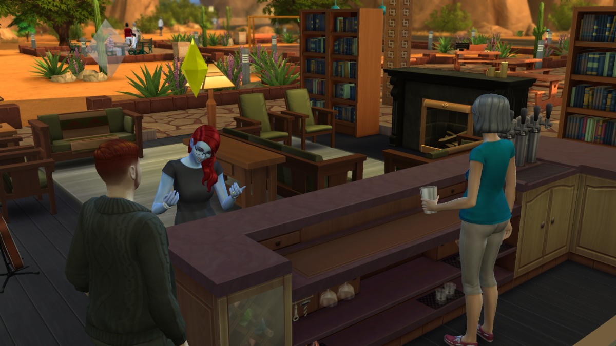 "Sims interacting over a drink in ""The Sims 4."""