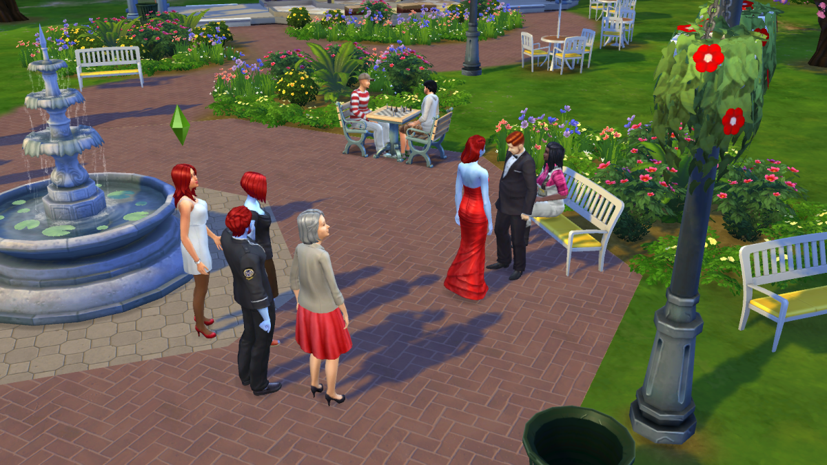 "Two sims getting married at a park in ""The Sims 4."" Satisfy the guests for some marital bonuses."