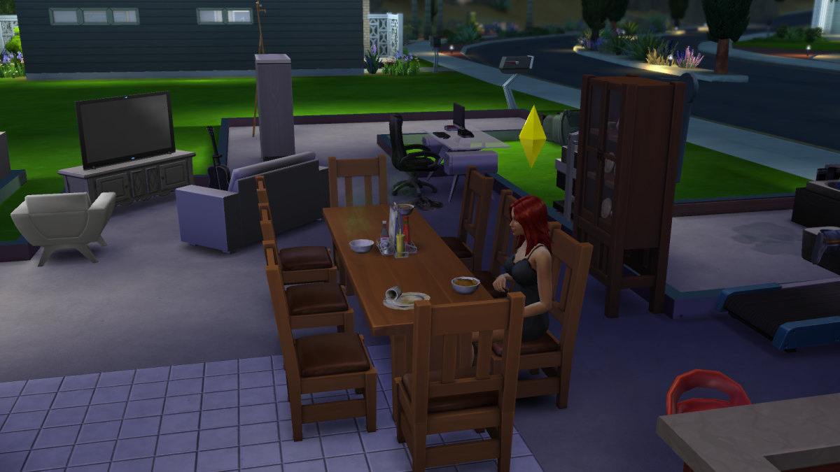A sim sitting down for dinner in The Sims 4.