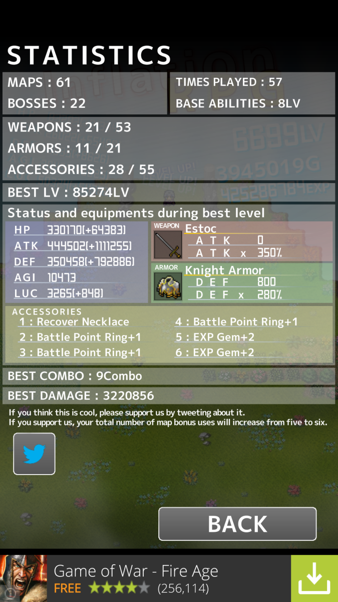 My current best stats.