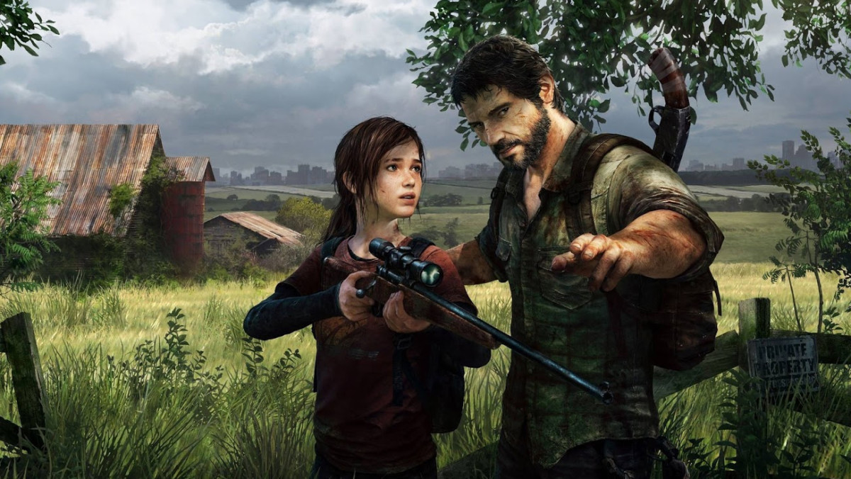 Joel teaching Ellie to shoot.