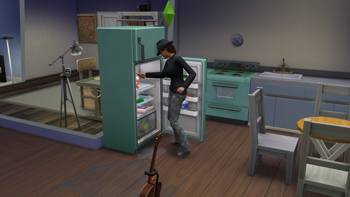 A sim fixing a fridge using Handiness in The Sims 4. Don't send a low-level sim to do this, as they may accidentally electrocute themselves.
