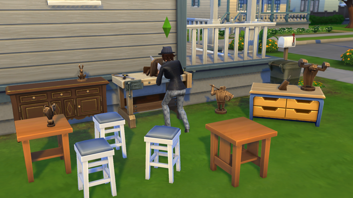 A sim using a woodworking table to craft furniture in The Sims 4, via the Handiness skill.