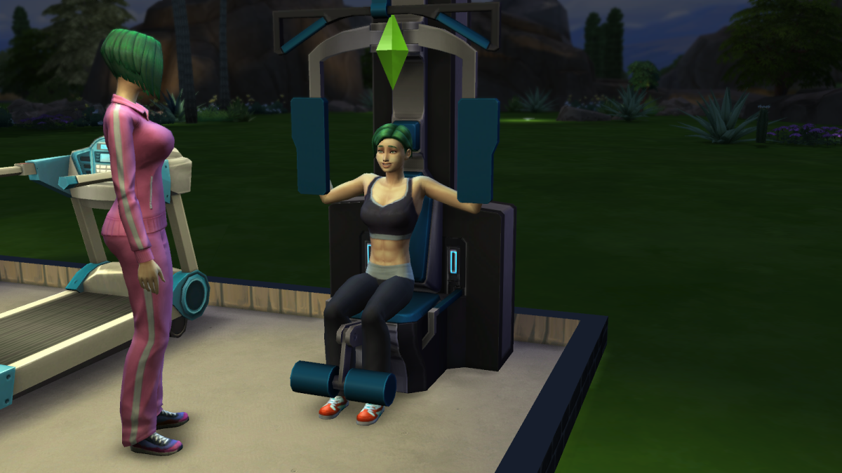 A sim on a weight machine, working on her Fitness skill. Note how sims become more toned as they work out.