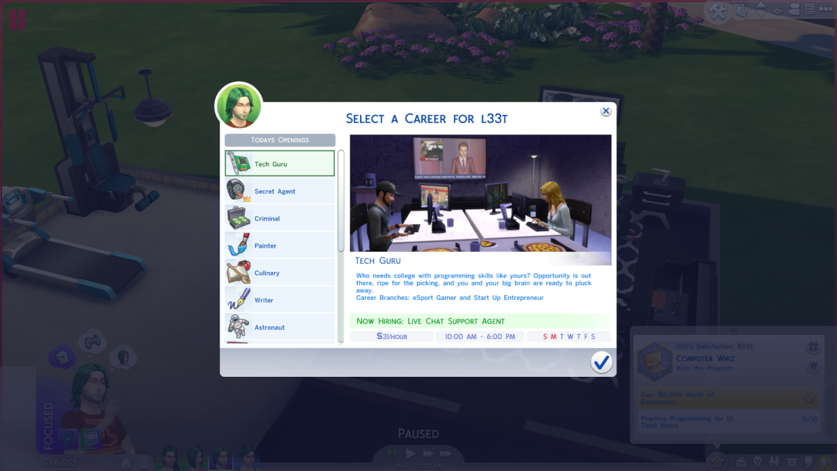 The Tech Guru career in The Sims 4.
