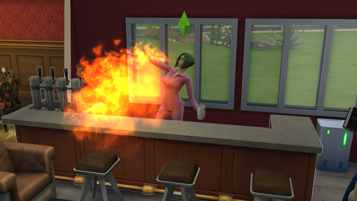 A sim performing another Mixology trick in The Sims 4, breathing fire for no one in particular. Disappointing.