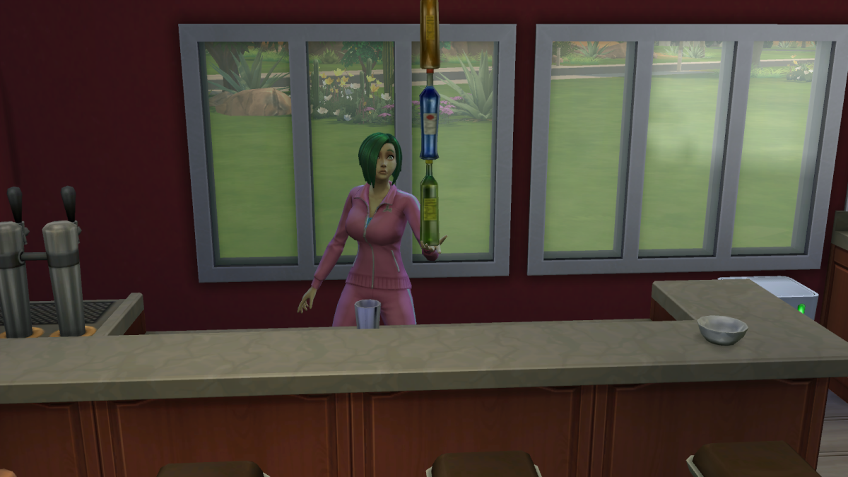 A bartender using her Mixology skill to perform tricks in The Sims 4. The higher the Mixology, the more skills the sim will know.