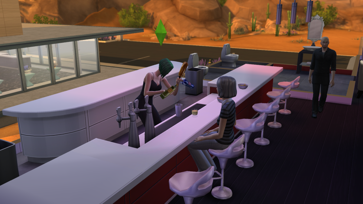 A sim serving drinks at a bar in The Sims 4. Drinks ordered by NPC sims are made for free.