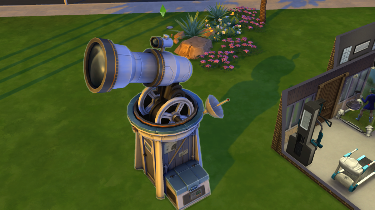 "A telescope being used by a Sim in ""The Sims 4"". Like microscopes, telescopes offer up extra goodies—and can earn you a decent living with enough work."
