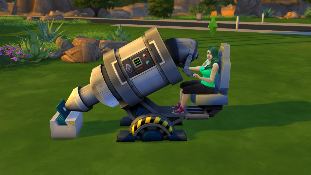 "A Sim using a microscope in ""The Sims 4"". Microscopes build Logic and can offer up other goodies as well."