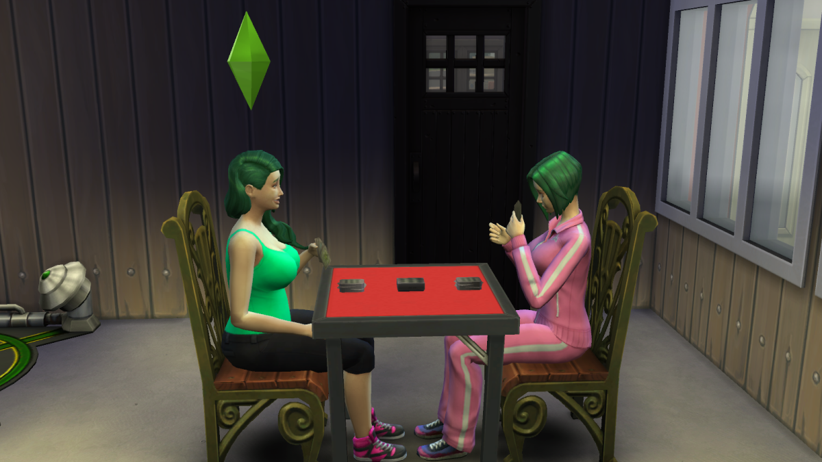 Two sims playing cards in The Sims 4. Playing games can build a sim's Logic skill.