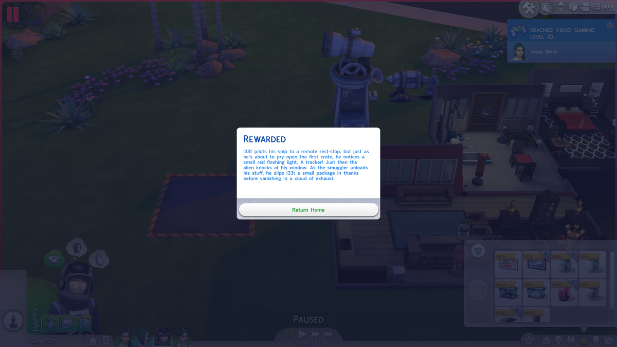 An example of a mission result after exploring space in The Sims 4.