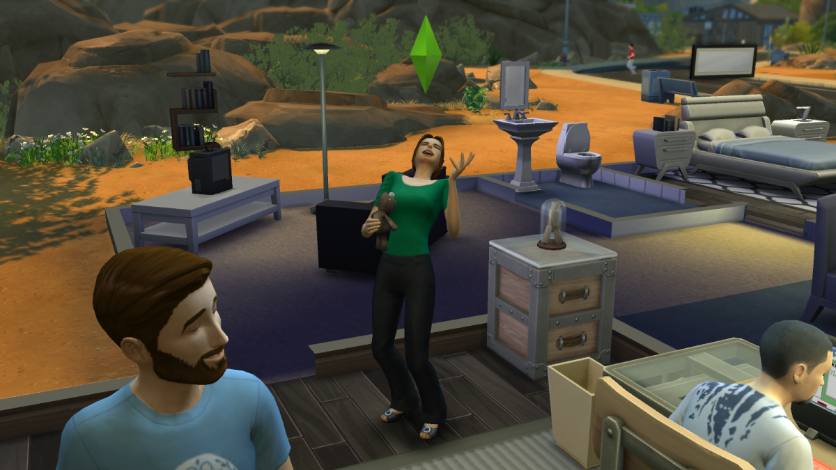 A sim who's way too happy to be using a Voodoo Doll against her enemies in The Sims 4.
