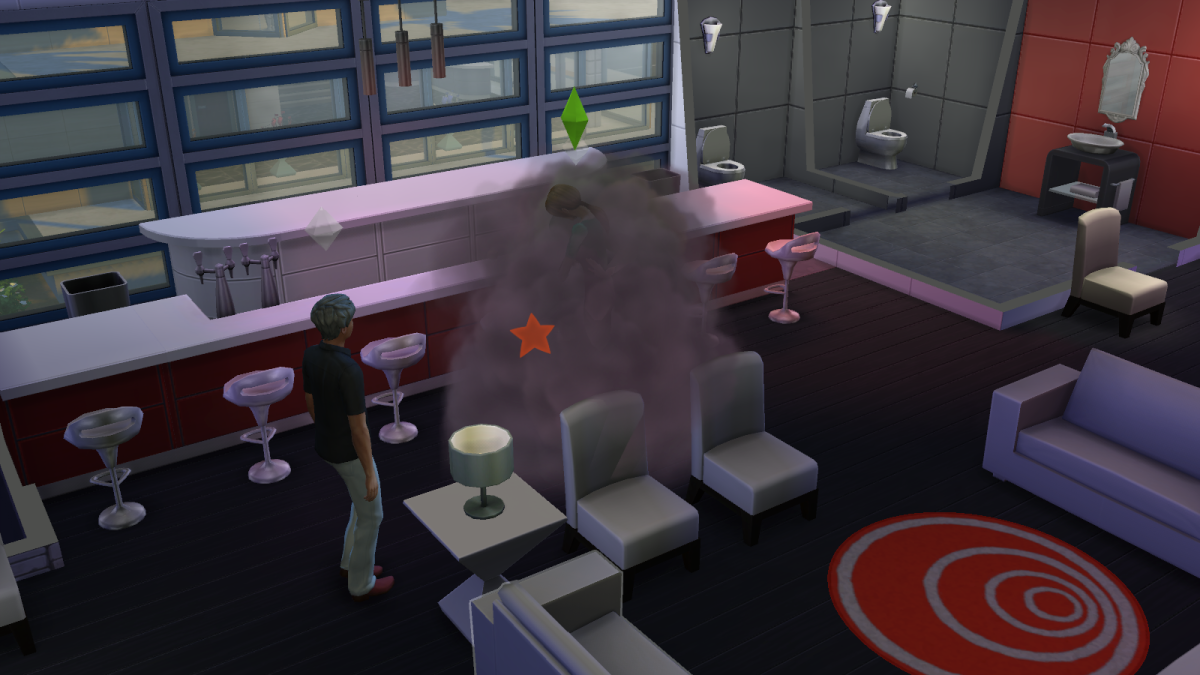 "A fight between two irate sims in ""The Sims 4."" Ouch."