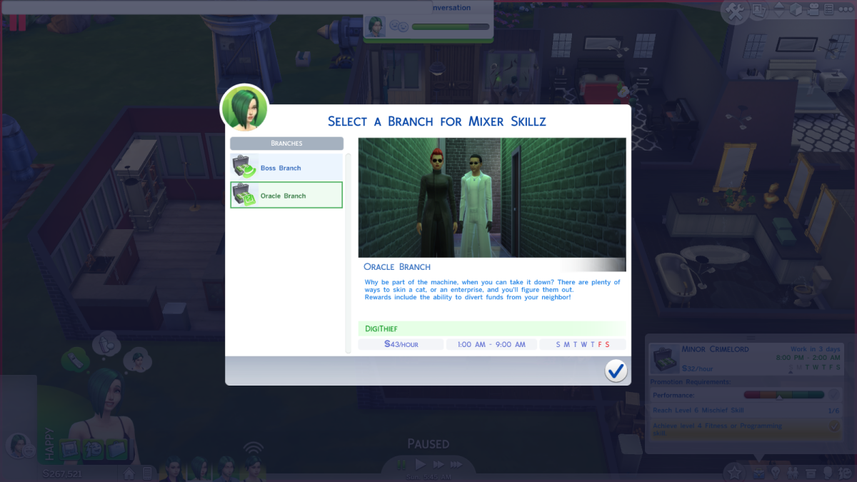 The Oracle career branch in The Sims 4.