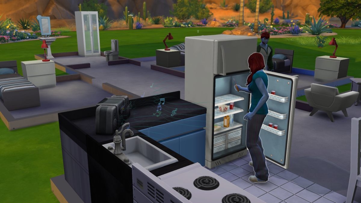 "A sim checking out the contents of a fridge in ""The Sims 4."""