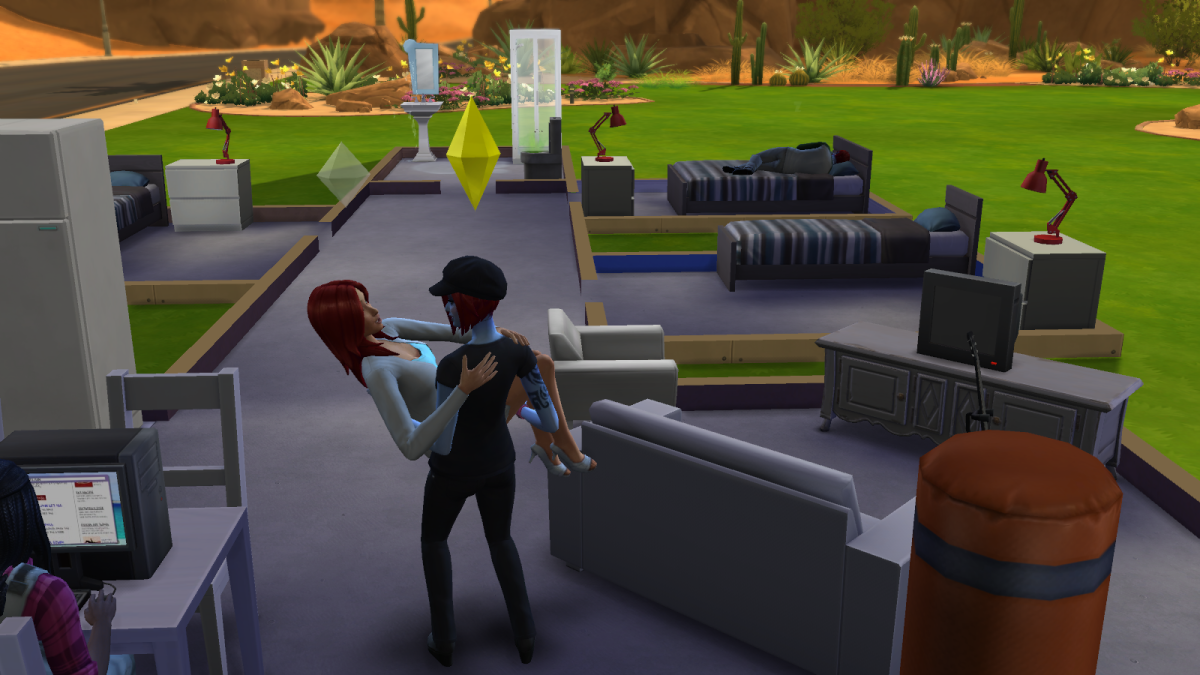 Two sims getting all romantic in The Sims 4.