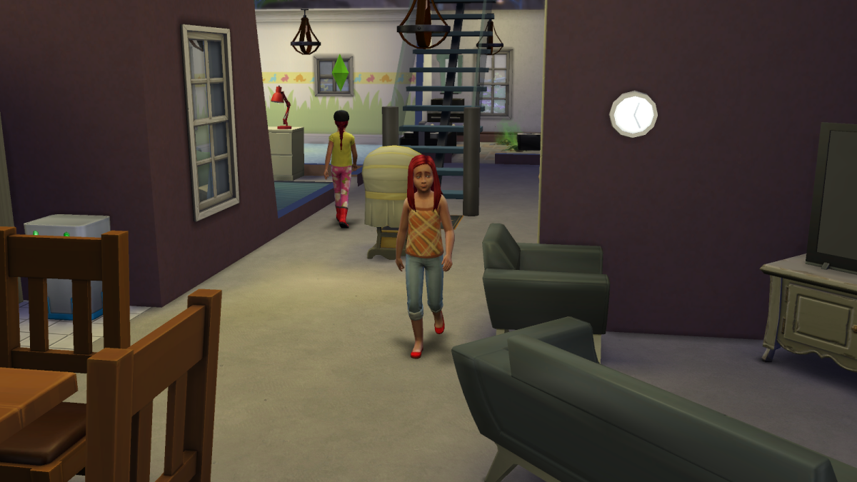 A child sim in The Sims 4. Children are forced to go to school once they reach childhood.