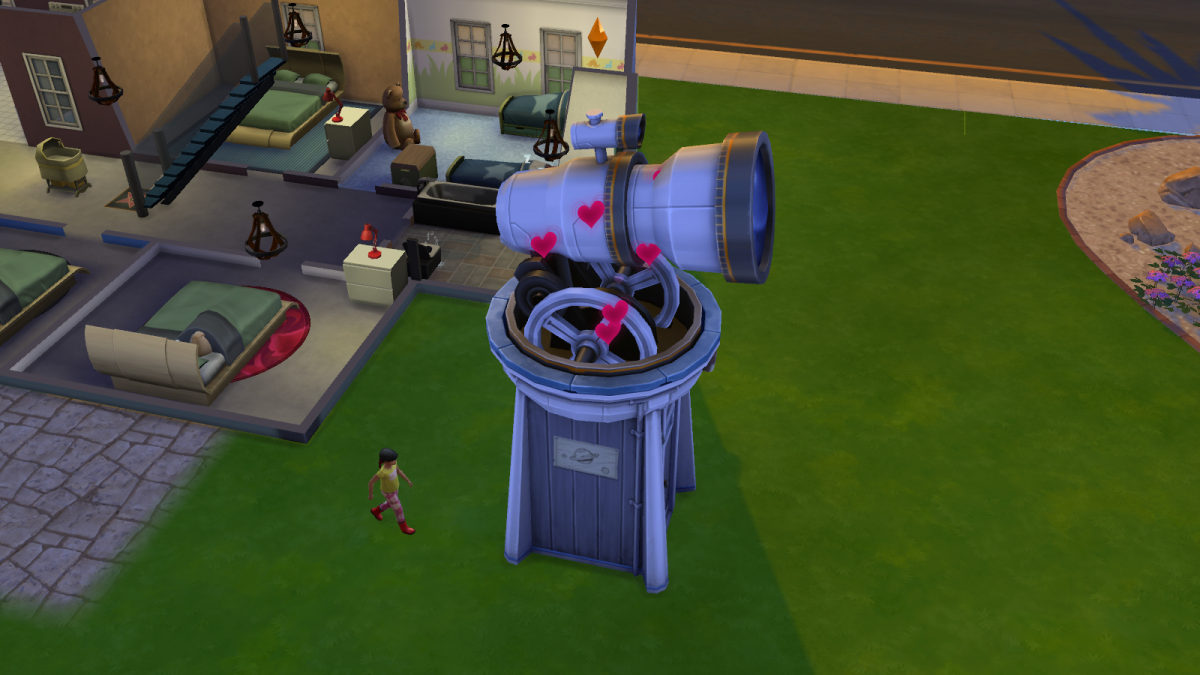 """An observatory in """"The Sims 4"""" being used for WooHooing. For shame."""
