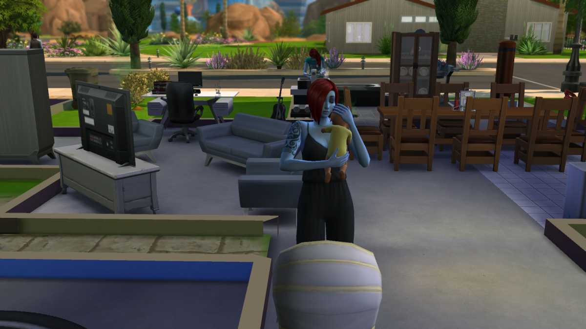 A baby sim being comforted by an adult sim in The Sims 4. Babies can turn into children as quickly as you like.