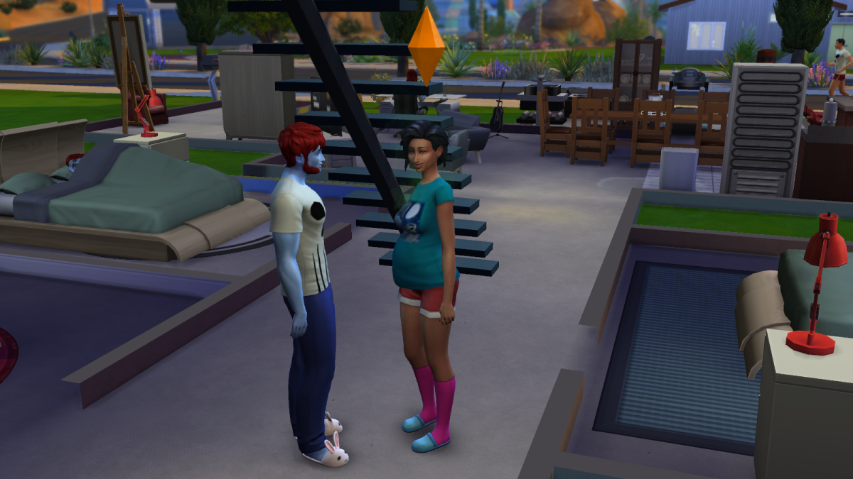 A pregnant sim in The Sims 4.