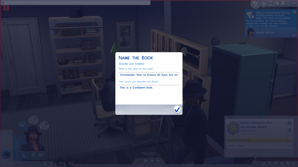 "A sim creating a book with the Writing skill in ""The Sims 4."""
