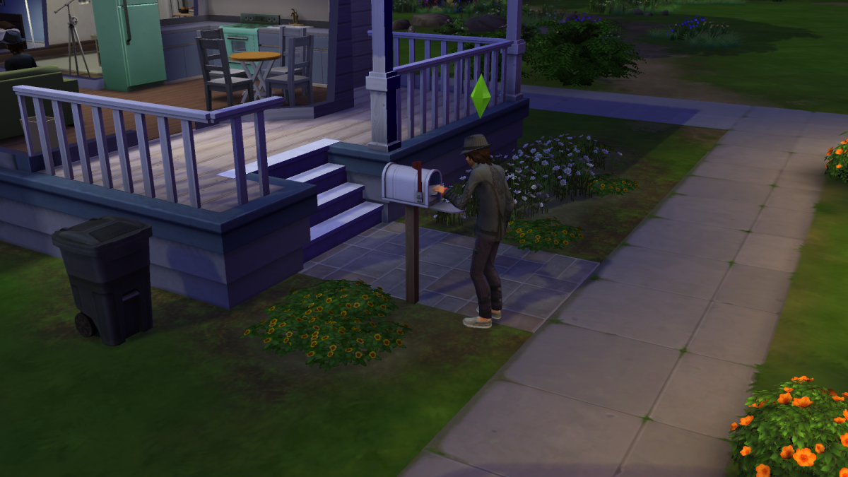 A sim submitting a book for publication in The Sims 4 by sending it through the mail. Sims can create as many books as they like via the Writing skill.