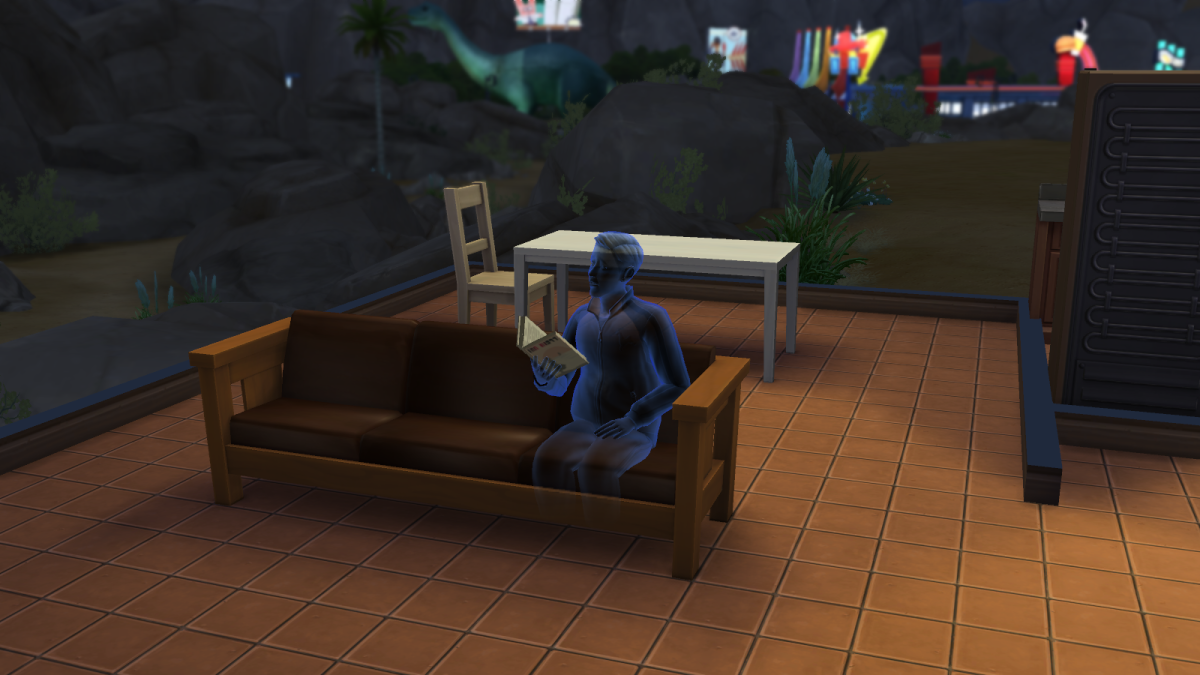 A ghost reading a book in The Sims 4. Ghosts can learn skills as readily as living sims.