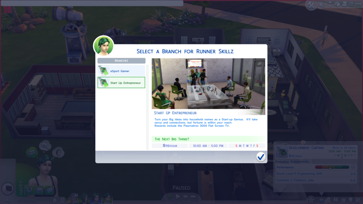 """The Start Up Entrepreneur career path in """"The Sims 4."""""""