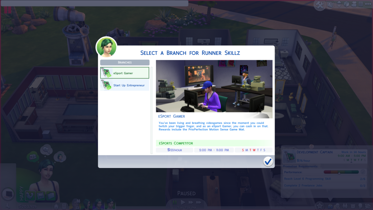 The eSport Gamer career path in The Sims 4.