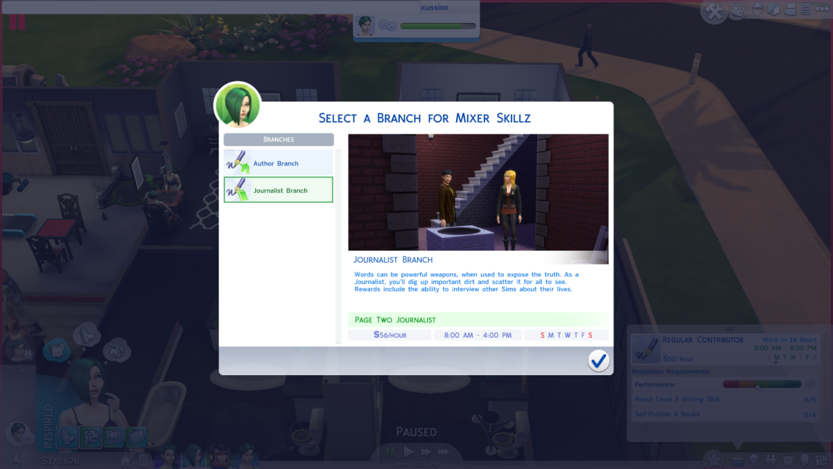 The Journalist career branch in The Sims 4.