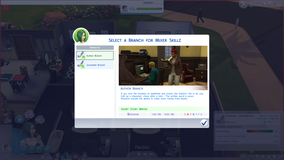 The Author career branch in The Sims 4.